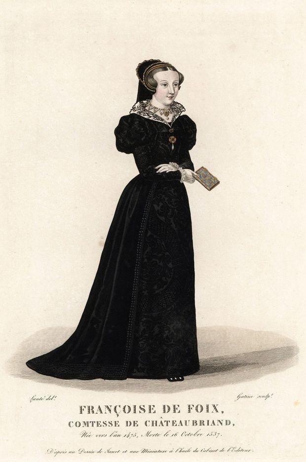 Gravure de 1827 figurant Françoise de Foix, favorite du roi François Ier