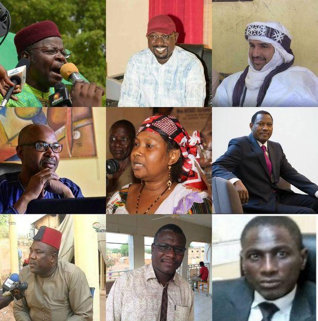 Neuf protagonistes de la résistance contre le régime Issoufou:de g. à Dte et de haut en bas: l'ancien Président Mahamane Ousmane, le ministre démissionnaire Ibrahim Yacouba, le porte-parole du FDR Adal Rhoubeid, l'activiste Moussa Tchangari, la première femme candidate à une présidentielle au Niger Mariama Bayard, le président du Moden-Lumana Hama Amadou, les activistes Nouhou Arzika, Ali Idrissa et Me Abdramane Lirwan.