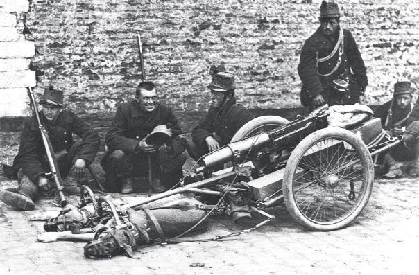 Chiens attelés à une mitrailleuse lourde en Belgique, 1914. Ils étaient muselés pour ne pas aboyer et prévenir l'ennemi.