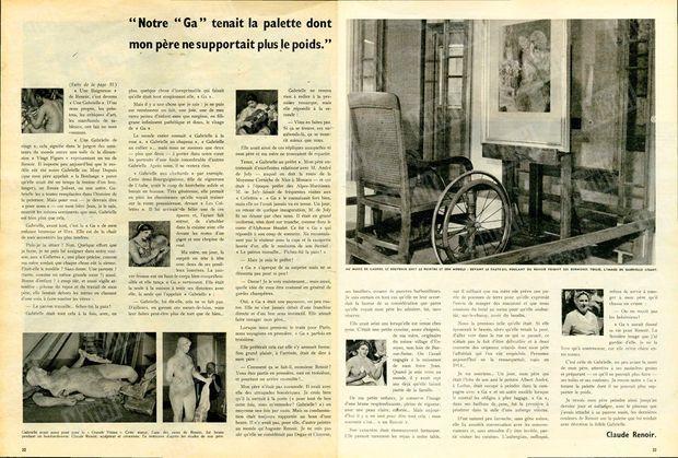 """À gauche : """"Gabrielle avait aussi posé pour la 'Grande Vénus'. Cette statue, l'une des rares de Renoir, fut brisée pendant un bombardement. Claude Renoir, sculpteur et céramiste, l'a restaurée d'après les études de son père."""" - À droite : """"Au musée de Cagnes, le souvenir unit du peintre et son modèle : devant le fauteuil roulant où Renoir peignit ses dernières toiles, l'image de Gabrielle lisant."""" - Paris Match n°518, 14 mars 1959"""