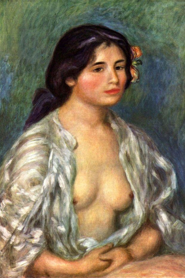 """""""Gabrielle en blouse ouverte"""", Auguste Renoir, 1908 (Collection privée)"""