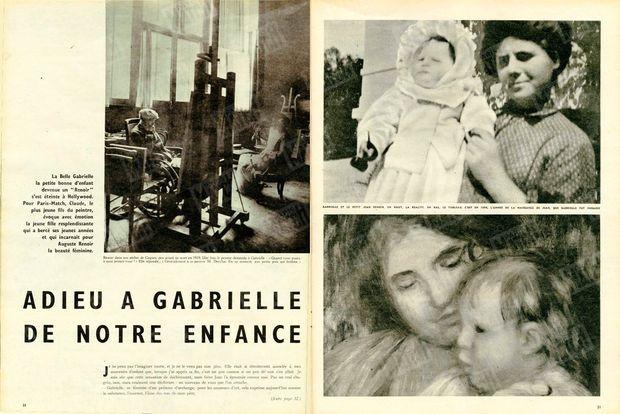 """À gauche : """"Renoir dans son atelier de Caques, peu avant sa mort en 1919. Une fois, le peintre demanda à Gabrielle : 'Quand vous posez à quoi pensez-vous ?' Elle répondit : 'Généralement à ce pauvre M. Dreyfus. En ce moment, aux petits pois qui brûlent.'"""" - À droite : """"Gabrielle et le petit Jean Renoir. En haut, la réalité. En bas, le tableau. C'est en 1894, l'année de la naissance de Jean, que Gabrielle fût engagée."""" - Paris Match n°518, 14 mars 1959"""