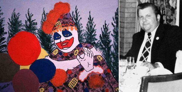 Pogo le clown était également peintre à ses heures perdues, et composait des autoportraits... À droite, John Wayne Gacy avant son arrestation, photo non datée.