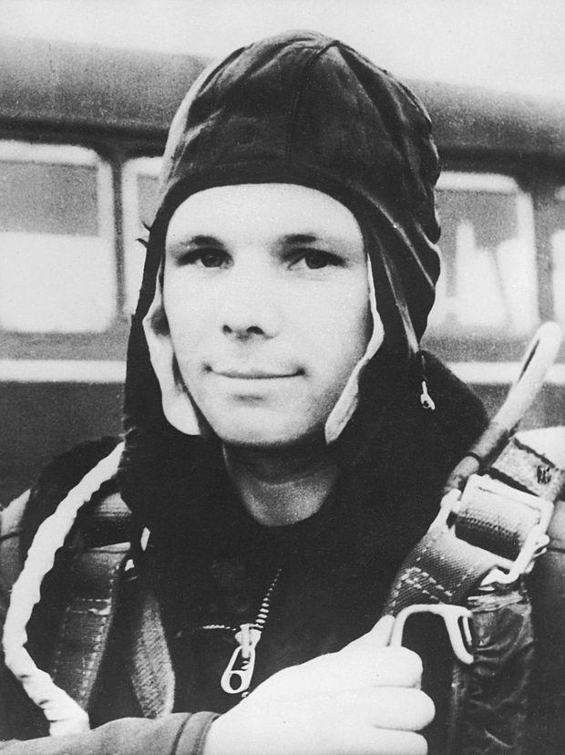 Youri Gagarine après son retour sur Terre, le 12 avril 1961.