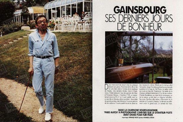 « Dans la campagne bourguignonne, Match a photographié l'univers que le chanteur-poète avait choisi pour fuir Paris. » - Paris Match n°2188, 2 mai 1991