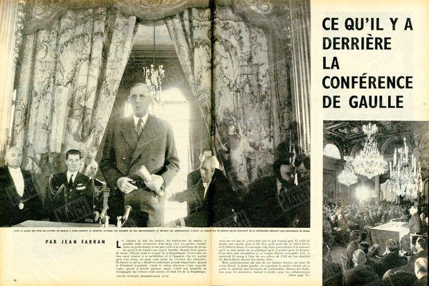 """""""Dans le salon des fêtes de l'Elysée, De Gaulle a parlé durant 55 minutes, entouré des membres de son gouvernement et devant 500 journalistes. C'était la première fois en France qu'un président de la République donnait une conférence de presse."""" - Paris Match n°521, 4 avril 1959"""