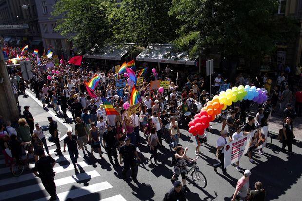 La gay pride de Zagreb s'est déroulée dans le calme, le 16 juin 2012.