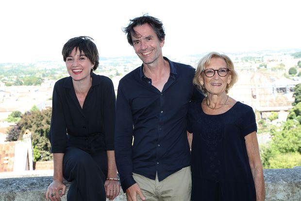 """Nina Meurisse, Boris Lojkine et Maryvonne Lepage au Festival du film d'Angoulême pour """"Camille"""", en août 2019"""