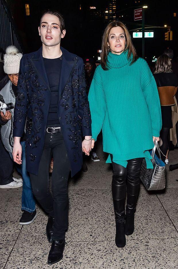 Harry Brant et Stephanie Seymour en février 2020 à New York après le défilé Marc Jacobs