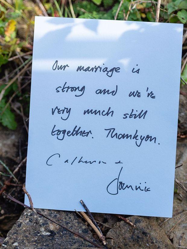 Le mot partagé par Catherine et Dominic West le 13 octobre 2020