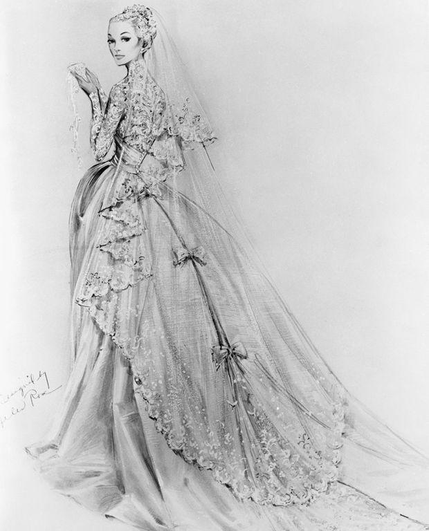 Croquis de la robe de mariée de Grace Kelly, le 17 avril 1956