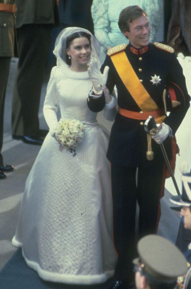 La robe de mariée de Maria Teresa Mestre, le 14 février 1981 à Luxembourg