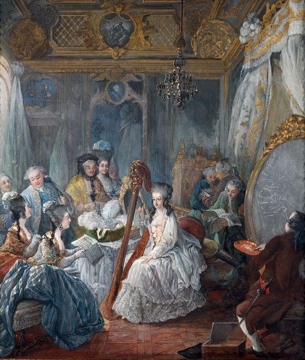 Jean-Baptiste-André Gautier d'Agoty, «Marie-Antoinette jouant de la harpe dans sa chambre à Versailles», 1777, château de Versailles