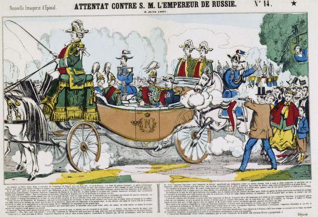 Image d'Epinal montrant la tentative d'assassinat du tsar Alexandre II à Paris le 6 juin 1867