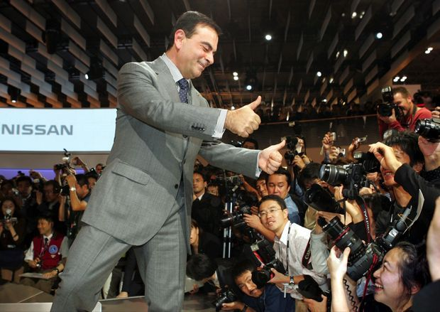 Au pays du Soleil-Levant, Carlos Ghosn était d'abord le sauveur adulé de Nissan. Ici, le 19 octobre 2005 au Salon de l'automobile de Tokyo.