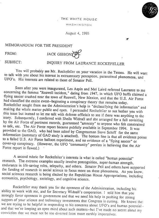 La mémo de Jack Gibbons aux Clinton les mettant en garde sur la marotte de Rockefeller.