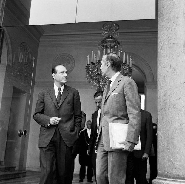 Valéry Giscard d'Estaing et Jacques Chirac à l'Elysée, le 25 mars 1976. Une défaite électorale cinglante vient de rapprocher les deux têtes de l'exécutif... pour un temps.