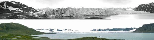 Un siècle sépare ces clichés. Le premier a été pris en 1906 par Albert Ier de Monaco, le second par son arrière-arrière-petit-fls. Le glacier de Lilliehöök, en Norvège, a reculé de 6 kilomètres.