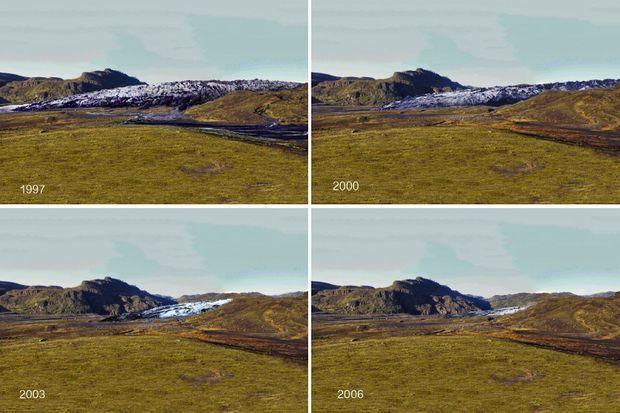 Évolution de Sólheimajökull, entre 1997 et 2006