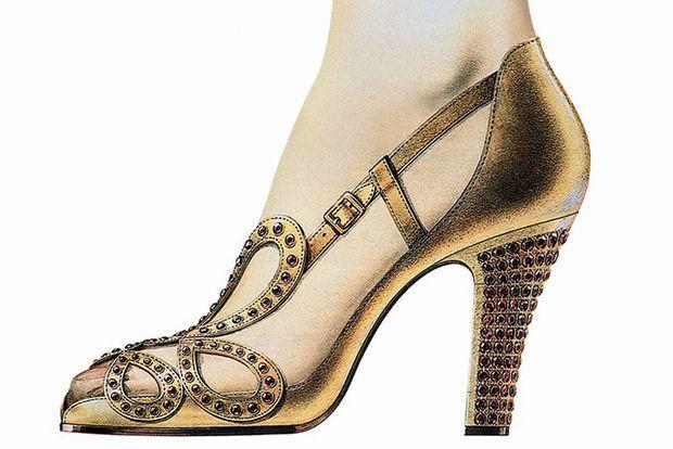 Les escarpins créés par Roger Vivier pour le couronnement de la reine Elizabeth II en 1953