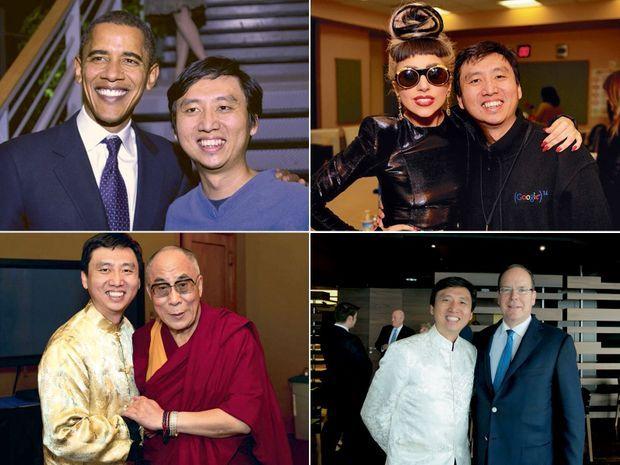 De g. à d. et de h. en b.: Chade-Men Tan avec Obama, Lady Gaga, le Dalaï Lama, le prince Albert de Monaco.,