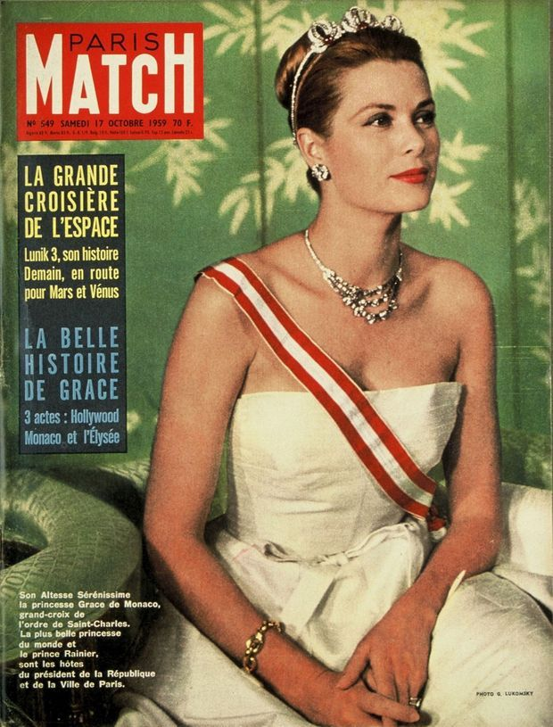 La princesse Grace de Monaco lors de sa visite officielle en France, en couverture de Paris Match n°549, daté du 17 octobre 1959.