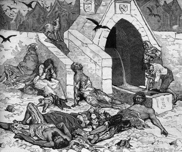 Gravure de la fin du XIXe siècle représentant l'épidémie de peste à Paris en 1544.