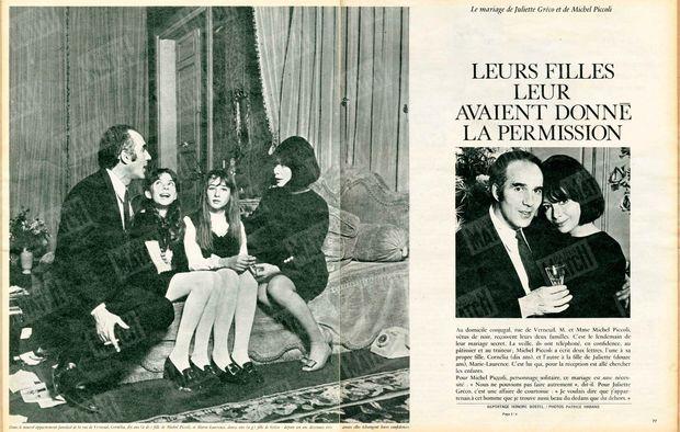 « Dans le nouvel appartement familial de la rue de Verneuil. Cornelia, dix ans (à dr.) fille de Michel Piccoli, et Marie-Laurence, douze ans (à g.) fille de Gréco : depuis un an, devenues très amies, elles échangent leurs confidences » - Paris Match n°924, 24 décembre 1966.