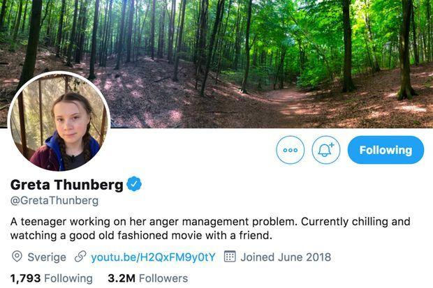 La nouvelle biographie de Greta Thunberg sur Twitter.