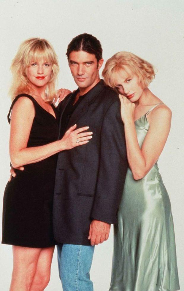 Melanie Griffith et Antonio Banderas, avec Daryl Hannah, lors de la promotion du film « Two Much », sur le tournage duquel le couple s'est rencontré, en 1995.