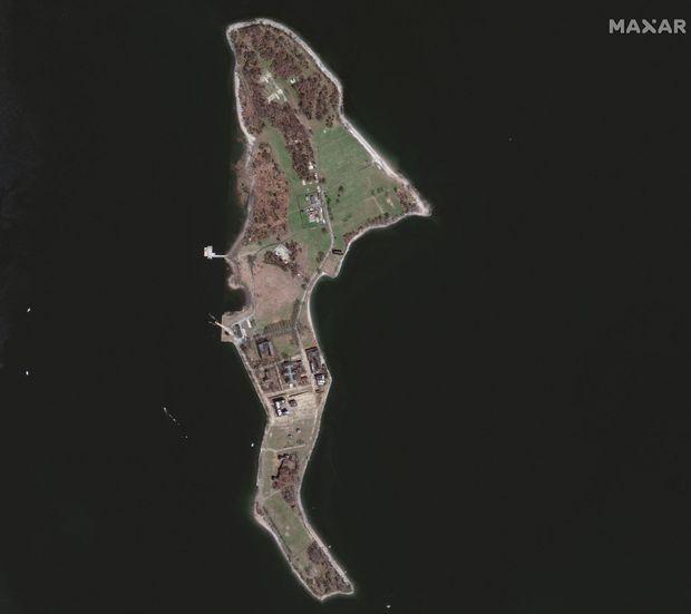 Hart Island vue du ciel.