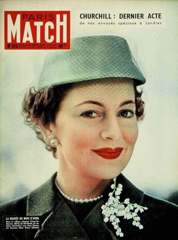 Olivia de Havilland, lors de son mariage avec Pierre Galante, en couverture de Paris Match n°315, daté 9 avril 1955.