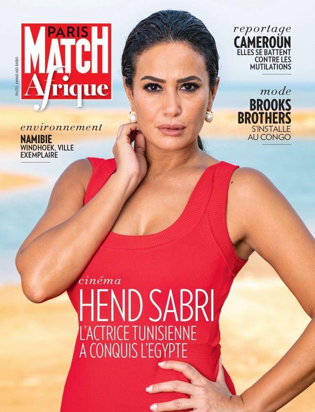 Repérée par Dora Bouchoucha, l'actrice Hend Sabri à la Une de Paris Match Afrique dans son édition novembre 2018