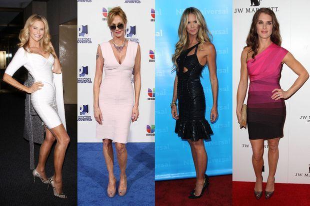 Christie Brinkley, Melanie Griffith, Elle Macpherson et Brooke Shields en robes Hervé Léger.