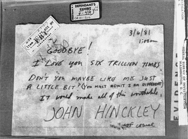 Une des lettres adressées à Jodie Foster par John Hinckley. Celle-ci date du 6 mars 1981, trois semaines avant l'attentat contre le président Reagan.