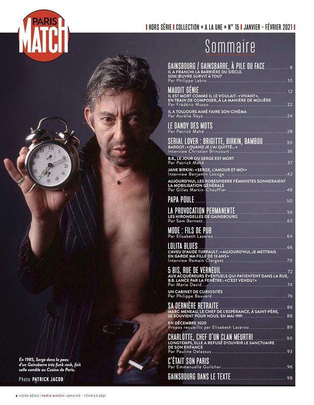 Au sommaire de notre hors-série « Gainsbourg, pile ou face », 100 pages de photos et de reportages exclusifs consacrées au chanteur...