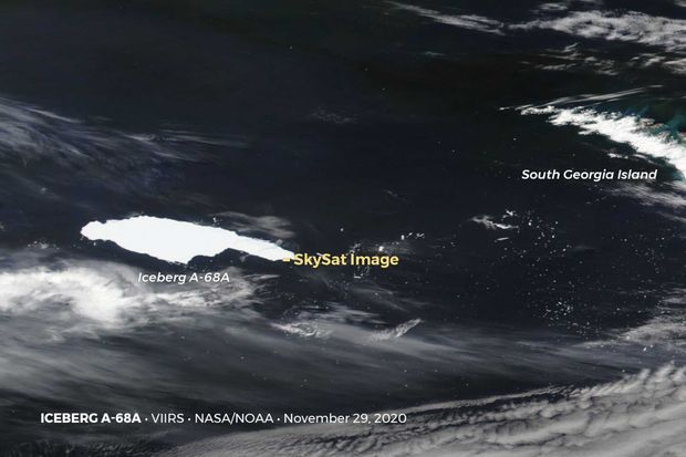 L'iceberg A68a, photographié pour la première fois depuis des mois.