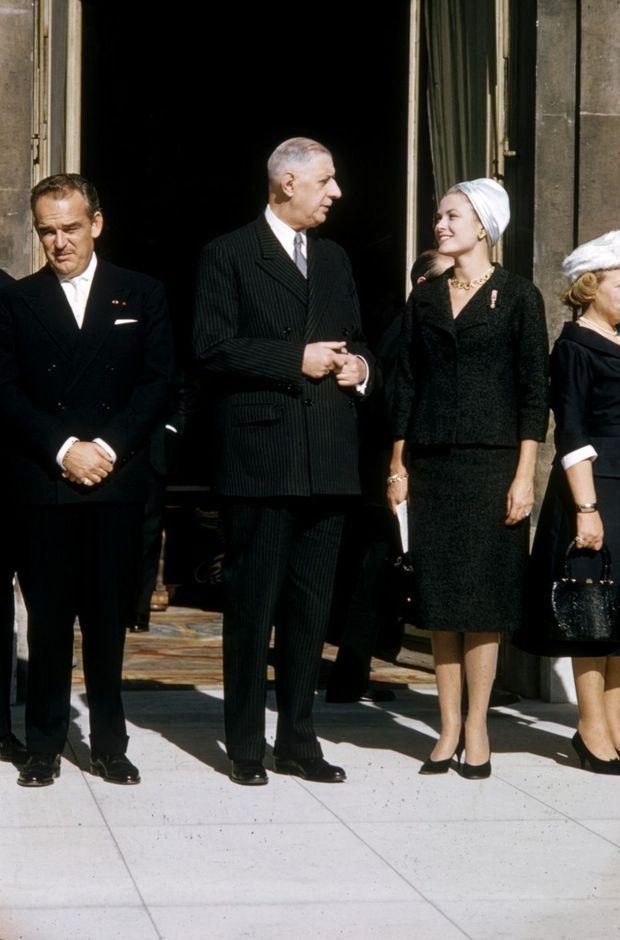 « Il trouvait, parmi d'autres, que Grace Kelly et Michèle Morgan étaient de très belles actrices. » Octobre 1959, à l'Elysée, avec le couple monégasque.