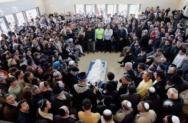Dernière cérémonie d'hommage à Ilan Halimi avant son enterrement en Israël, à Jérusalem le 9 février 2007.