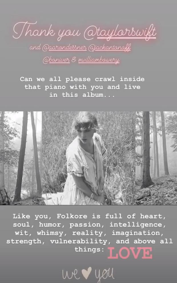 """Blake Lively félicite son amie Taylor Swift sur la sortie de son nouvel album """"Folklore"""" en juillet 2020"""