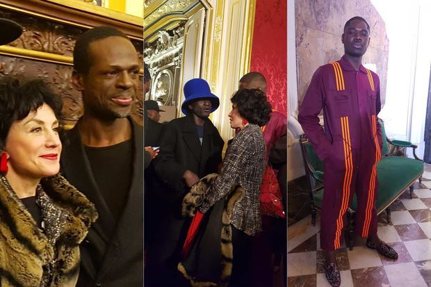 Lors du cocktail après le défilé d'Imane Ayissi. À droite, le journaliste Joseph Alexis dans une combinaison de la dernière collection de Beyoncé pour Adidas.