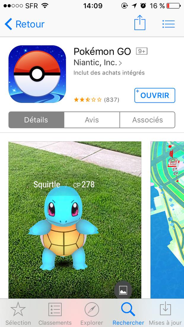 Pokémon Go dans l'App Store