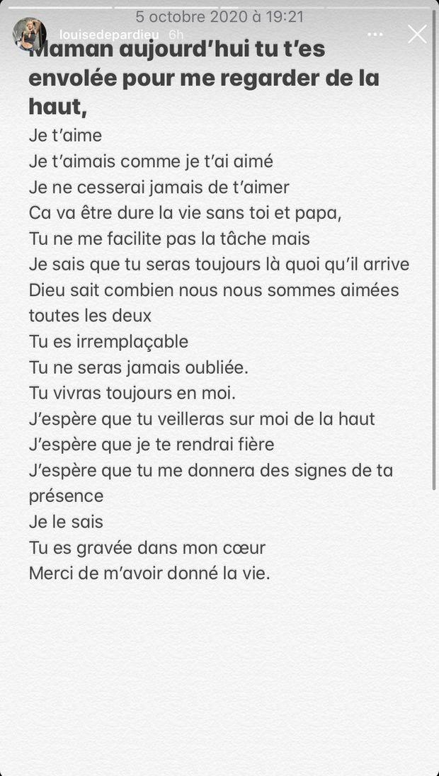 Louise Depardieu rend hommage à sa mère Elise Ventre, décédée en octobre 2020