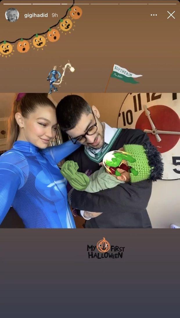 Gigi Hadid et Zayn Malik avec leur fille pour Halloween, le 31 octobre 2020