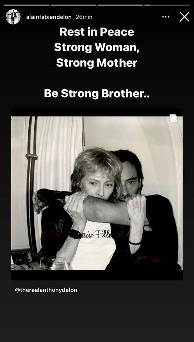 Alain-Fabien Delon rend hommage à Nathalie Delon, la mère de son grand frère Anthony décédée le 21 janvier 2021