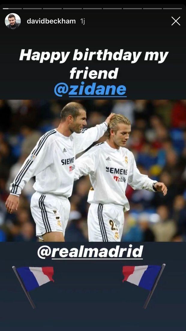 David Beckham célèbre l'anniversaire de Zinedine Zidane