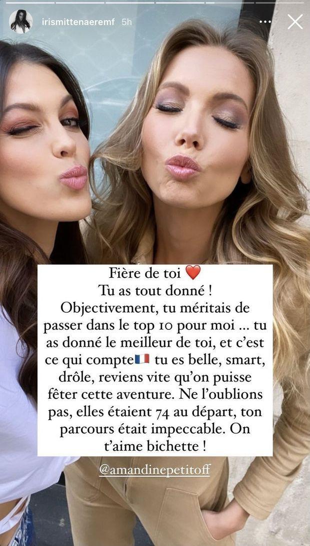 Iris Mittenaere félicite Amandine Petit après son parcours à Miss Univers 2020