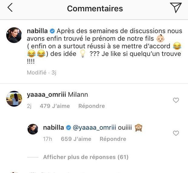 Nabilla confirme le prénom qu'elle a choisi avec Thomas pour son fils le 7 août 2019