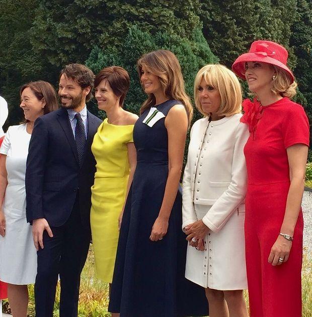 Ingrid Schulerud, Bernard Depoorter, Amélie Derbaudrenghien, Melania Trump, Brigitte Macron et Fabienne Delvigne.