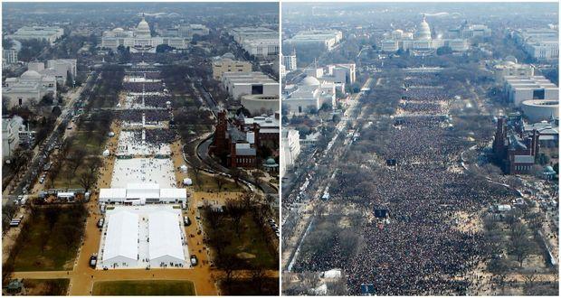 A droite, la foule pour l'investiture de Barack Obama en 2009. A gauche, la foule pour l'investiture de Donald Trump, le 20 janvier 2017.
